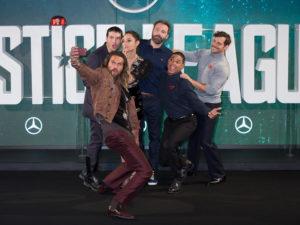Justice League'_The College in London_Jason Momoa, Ezra Miller, Gal Gadot, Ben Affleck, Ray Fisher_Henry Cavill Where: London_new york gossip gal